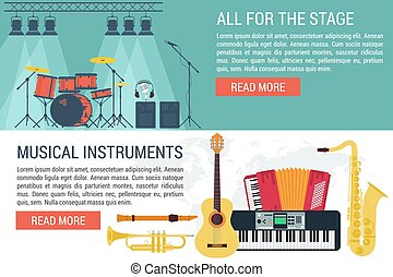 Vector banners of musical Instruments I