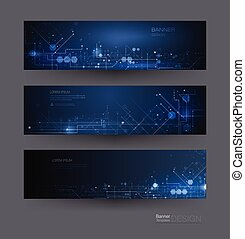 Vector banners set. Futuristic digital science technology concept for web banner template or brochure