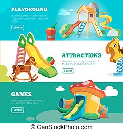 vector banners set of children playground. Illustrations in...