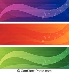 vector banners set of music theme