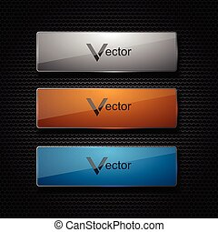 Vector banners set on background.