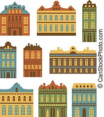 Vector banners set with houses. Cit