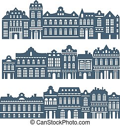 Vector banners set with houses.
