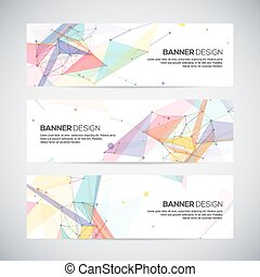 Vector banners set with polygonal abstract shapes, circles,...