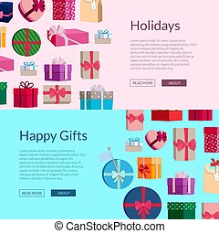 Vector banners with a lot of gift boxes or packages