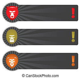 Vector banners with animal head - bear, gorilla, lion