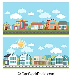 Vector banners with cottage houses in flat design style