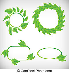 Vector banners with leafs