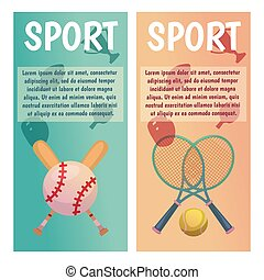Vector banners with sport icons. Tennis. Baseball. Flat illustration.