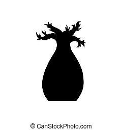 Vector baobab tree silhouette. Black baobab tree