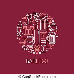Vector bar logo in linear style - wine and drinks icons and...