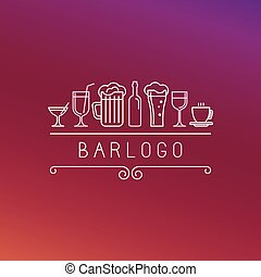 Vector bar logo in linear style - wine and drinks icons and ...