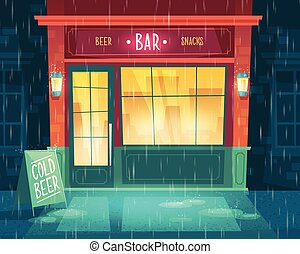 Vector bar shop-window, entrance with beer, snacks