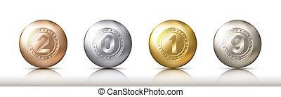 vector, baratijas, pelotas, eps10, oro, realista, color, o, sombras, diferente, ilustración, metálico, esferas, reflexión., 2019, números, grupo, transparente, plata