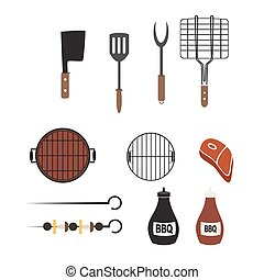 Vector barbecue and grill icons set,flat design