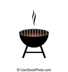 Vector barbecue grill icon isolated on white