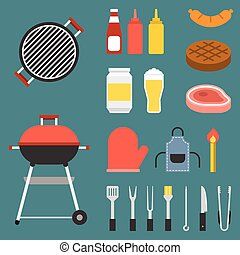 vector barbecue icons set