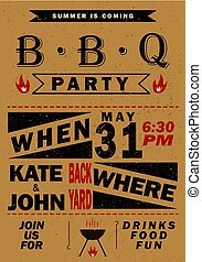 Vector barbecue party invitation. BBQ template menu design. Food flyer.