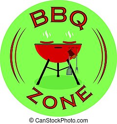 Vector Barbecue zone or BBQ rest area sign design.