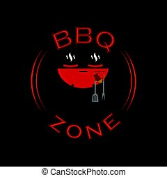 Vector barbecue zone sign. BBQ rest area background.