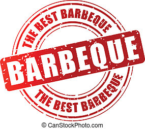 Vector barbeque stamp - Vector illustration of red barbeque...