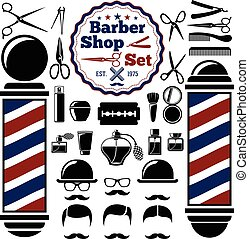 Vector Barber Shop accessories set. With silhouettes of  instruments,  pole, hairstyles. Vintage style.