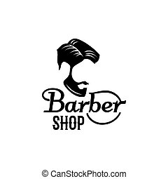 Vector barbershop beard mustache head icon