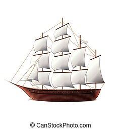 vector, barco, vela, aislado, blanco