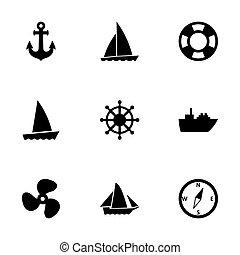 vector, barco, y, barco, icono, conjunto