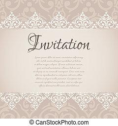 Vector baroque damask luxury invitation