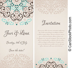 Vector baroque damask wedding invitation banners with a place for your text