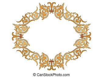 Vector - baroque frames and decorative elements - vintage banner with ribbon - Illustration