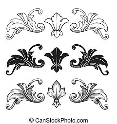 Classical baroque vector set of vintage elements for design. Decorative design element filigree calligraphy vector. You can use for wedding decoration of greeting card and laser cutting.