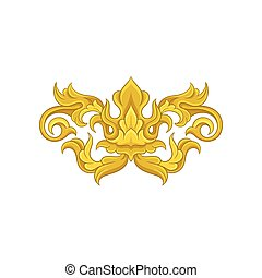 Vector baroque ornament. Golden floral arabesque. Vintage pattern in Victorian style