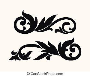 Vector baroque silhouette vignette