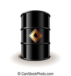 vector, barril, aceite, aislado, blanco
