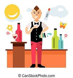 Vector Bartender juggler. Virtuoso cocktails at the bar....