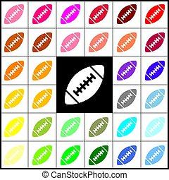 vector., barwny, ikony, prosty, piłka nożna, 33, amerykanka, czarnoskóry, colorfull., backgrounds., felt-pen, biały, ball.