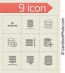 vector, base de datos, icono, conjunto