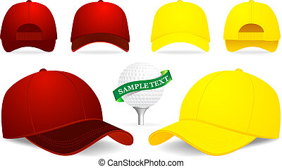 Vector baseball cap and golf ball illustration on white background
