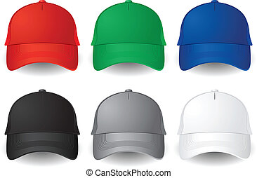 Set of solid color vector baseball caps isolated on white.