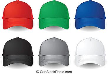 Vector baseball caps - Set of solid color vector baseball ...