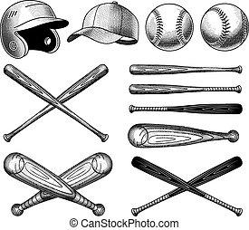 Vector Baseball Equipment illustrations - Vector Vintage...