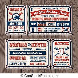Vector Baseball Event Invites - Vector illustrations for...