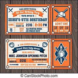 Vector Baseball Event Invites set 2
