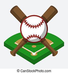 Vector baseball field, ball, and bat composition