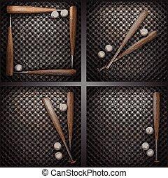 vector baseball on metal wall