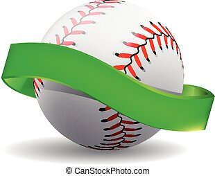 Vector baseball on white background with green ribbon.