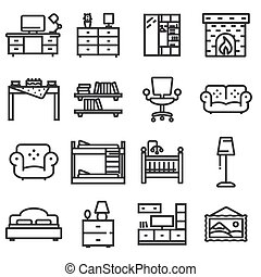 Vector basic furniture icon set in thin line style