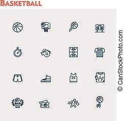vector, basketbal, set, pictogram